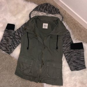 Double layered olive green jacket with hood